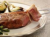 New York Strip Steak with Artichokes