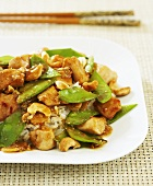Cashew Chicken Stir Fry with Pea Pods over Rice