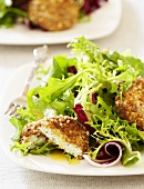 Baked Goat Cheese Baby Green Salad