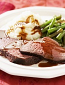 Sliced Roast Beef with Gravy, Mashed Potatoes and Green Beans