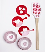 Valentine's Day Spatula, Stencil and Cupcake Liners