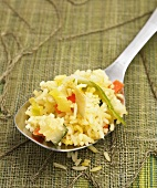 Spoonful of Rice with Leeks, Carrots and Zucchini
