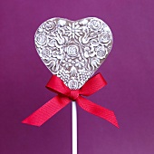 Milk and White Chocolate Heart Lollipop with Red Ribbon