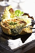 Individual Spinach and Goat Cheese Quiche with Side Salad