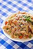 Rotini with Peas and Tomato Sauce