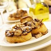 Wild Mushroom Bruschetta on White Plate