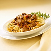 Tri-Colored Rotini with Sausage and Pepper Sauce