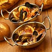 Seafood Stew in Metal Bowls