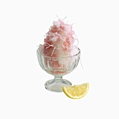 Falloodeh; Tiny Noodles Mixed with Rose Water  Frozen and Served with Lemon Juice