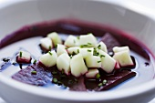 Cold Borscht with Diced Cucumber (Beet Soup)