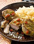 Caribbean Style Pork Tenderloin with Rice on a Plate