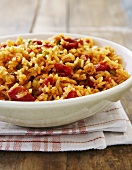 Creole Red Rice in a White Bowl