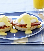 Eggs Benedict on a Blue Plate