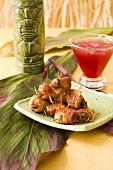 Rumaki with Pomegranate Mai Tai; Tiki Glass