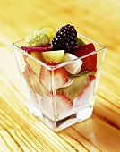 Fresh Fruit Salad in a Glass Dish