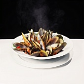 Plate of Steamed Green Mussels