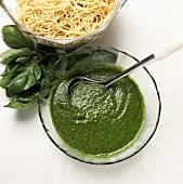 Bowl of Pesto Sauce; Pasta