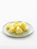 Pineapple Chunks on a White Plate