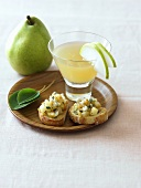 Pear Cocktail with Pear Bruschetta
