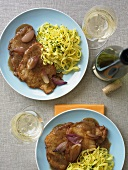 Pork Cutlets with Shallots and Pasta