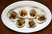 Broiled Stuffed Clams on White Platter