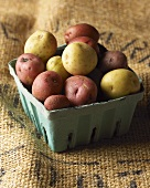 New and Red Potatoes in Green Container on Burlap