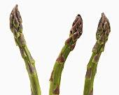 Three Asparagus Spears on White Background