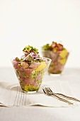 Tuna Ceviche in Glass Dishes