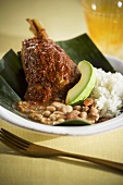 Lamb Shank with Beans and Rice