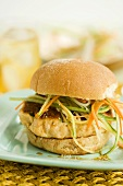 Salmon Burger with Shredded Veggies on a Bun