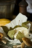 Cheese Wrapped in Leaves; Mushrooms