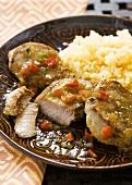 Pork Tenderloin with Caribbean Style Sauce and Rice