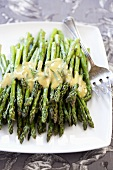Pan Roasted Asparagus with Mustard Vinaigrette Sauce