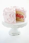 Pink Azalea Cake; 3 Layer Yellow and Strawberry Cake; Slice Removed