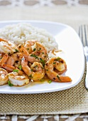Spicy Sauteed Shrimp with Rice on a Plate