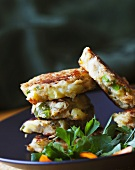 Stacked Salmon Cakes on a Plate
