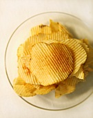 Stack of Potato Chips on a Plate; From Above