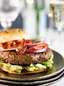 Grilled Sirloin Burger with Red Onions and Roasted Red Peppers