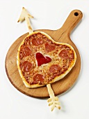 Heart Shaped Pepperoni Pizza on Pizza Board