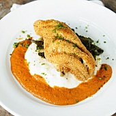 Fried Catfish with Grits and Tomato Cream Sauce