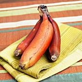 Red Bananas on Dish Cloth