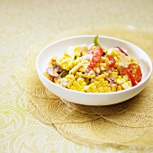 Salad with Fresh Corn off the Cob, Peppers and Onion