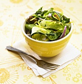 Zucchini Salad in a Yellow Bowl
