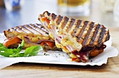 Halved Panini Sandwich on a Plate
