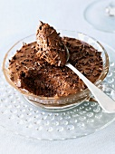 Bowl of Chocolate Mousse with Spoon; Spoonful of Mousse