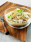 Bowl of Whole Wheat Pasta with Olive Oil and Parmesan Cheese