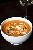 Bowl of Tomato and Red Lentil Soup