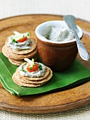 Navy Bean Dip on Stacked Crackers