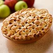 Lattice Top Apple Pie; Fresh Apples
