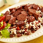 Plate of Red Beans and Rice with Andouille Sausage
